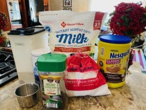 Ingredients for Hot Cocoa